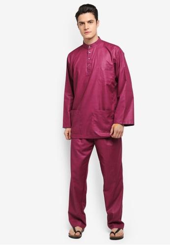 Mayasilk red Baju Melayu SB Printed Inner-Collar E9B40AA2D02F99GS_1