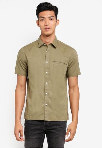 Topman green Khaki Slub Revere Short Sleeve Shirt DB7CCAAD308F55GS_1