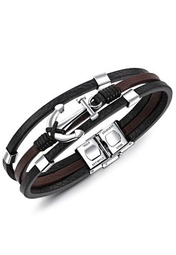 Trendyshop black and brown Men's Punk Bracelet D68E1AC37379FAGS_1