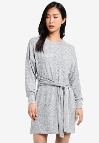 TOPSHOP grey Cut and Sew Jumper Dress TO412AA0SHHVMY_1