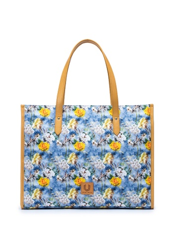 ULA ULA blue and multi ULA ULA Blossom Morning Top Leather Handle Water Repellent Fabric Slim Computer Tote Bag(With RFID Pocket) 31C17ACF35E839GS_1