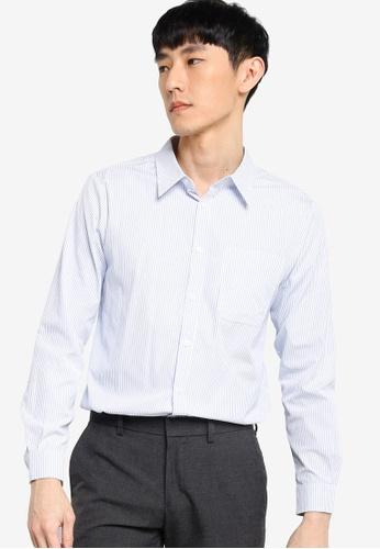 ZALORA BASICS white and blue Regular Fit Stripe Shirt AE59CAACA6AE84GS_1