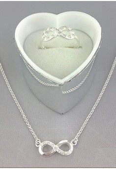 Infinity Necklace and Ring Set (925 Sterling Silver)