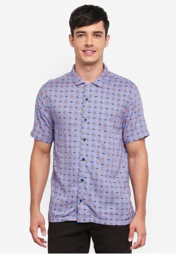 Topman 藍色 短袖幾何印花襯衫 DEDABAAA9328B3GS_1