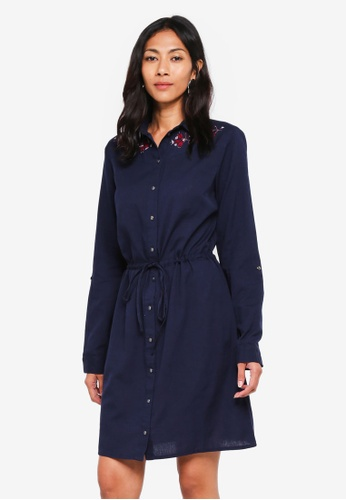 Dorothy Perkins navy Navy Embroidered Shirt Dress 610E8AAA40A8F9GS_1