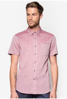 Chambray Short Sleeve Shirt With Pocket Piping