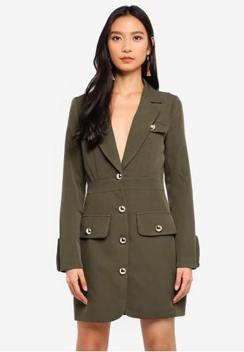MISSGUIDED green Military Gold Button Blazer Dress 41E65AA712A47CGS_1