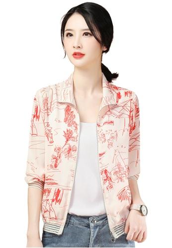 A-IN GIRLS beige Fashion Thin Chiffon Jacket F1D7FAA47D8D9EGS_1