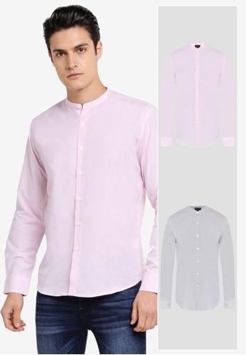 ZALORA black and pink 2 Pack Slim Fit Mandarin Collar Stripe Long Sleeve Shirt ZA819AA0T293MY_1