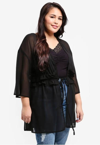 LOST INK PLUS black Plus Size Cover Up With Tie Waist B6481AAFF13D97GS_1