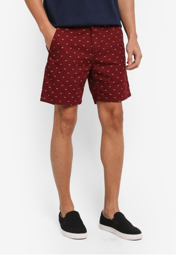 Penshoppe red Tapered Printed Mid Rise Chino Shorts 9E5B1AA5C42E16GS_1