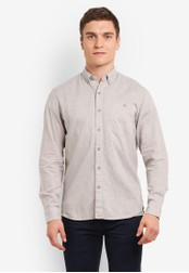Timberland grey Long Sleeve Mill River Cotton Linen Chambray Slim Shirt TI063AA0SB8HMY_1