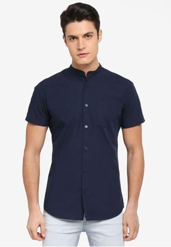 Selected Homme 藍色 中山領短袖襯衫 366DCAA736B3B4GS_1