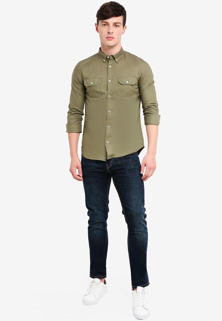 London Burton Roll Shirt Military Khaki Oxford Menswear Olive Khaki Sleeve xH1wSq0