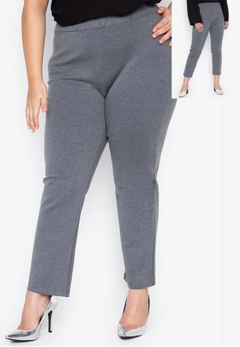Kris Curve grey Plus Size Kamille Straight Cut Regular Fit Pants DBA1FAA978717BGS_1