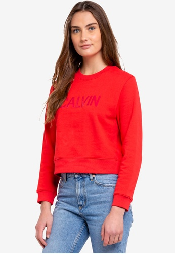 Calvin Klein red A-Institution Vinyl Sweatshirt - Calvin Klein Jeans 1FD50AAEA4FA72GS_1