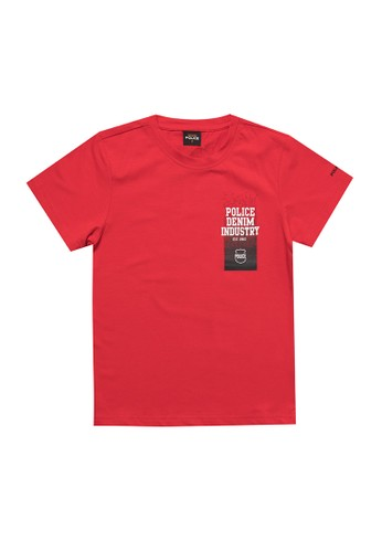 Police Denim red Graphic Design Fashion Tee Kids 3EE15KAFE7DC1DGS_1