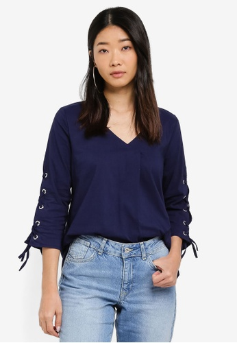 LC Waikiki 海軍藍色 Navy lace up sleeves Blouse FD120AA176EAF1GS_1