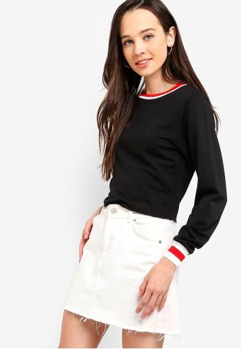 Something Borrowed black Contrast Rib Sweater 5817FAA3791B83GS_1