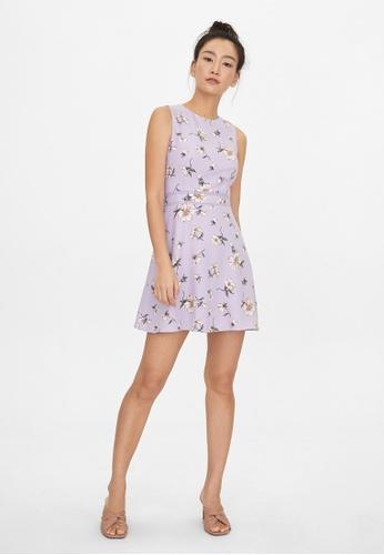 Pomelo purple Floral Cinched Babydoll Dress - Purple 72C3EAA14DB6D5GS_1