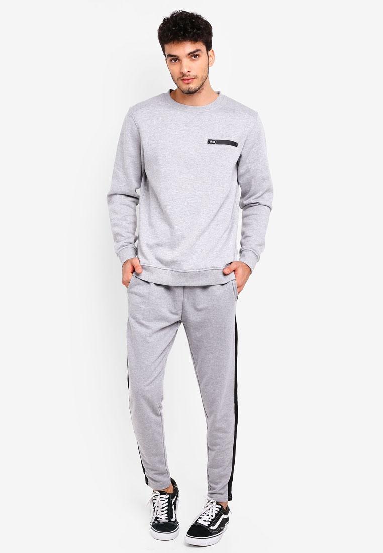 Grey Zip Factorie Chest Crew Sweatshirt Marle pvwSIw4qx