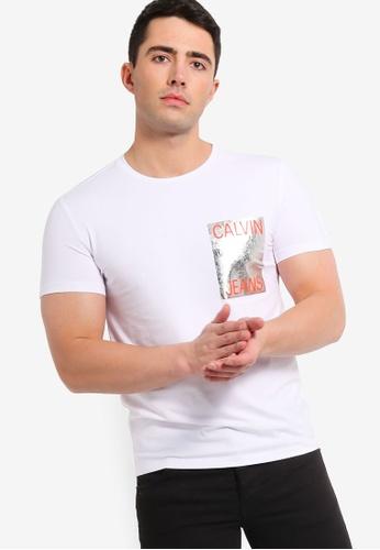 Calvin Klein 白色 修身T恤 DE7AEAA96E72B8GS_1