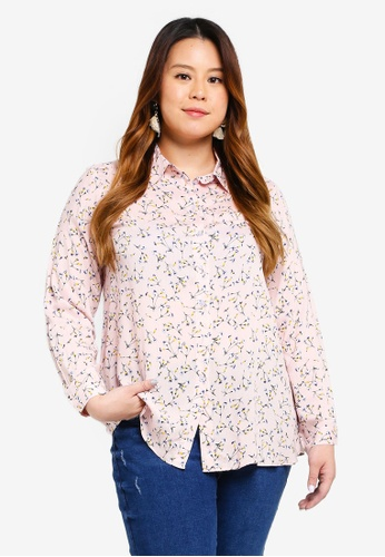 Ex'otico pink Plus Size Long Sleeve Printed Blouse E1C5DAAB2BBAE7GS_1