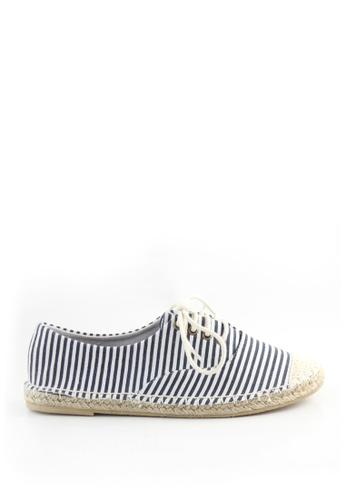 London Rag navy Navy and White Stripe Lace up Sneaker C8CC8SH1D3D55DGS_1