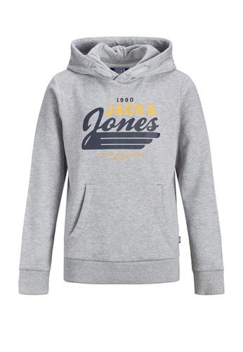 Jack & Jones grey Logo Sweat Hoodie 88CDBKA43AE654GS_1
