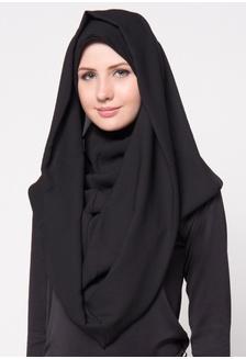 Double Layer Instan Hoodie - Black 3749FAAE19068CGS_1 Diindri Hijab .