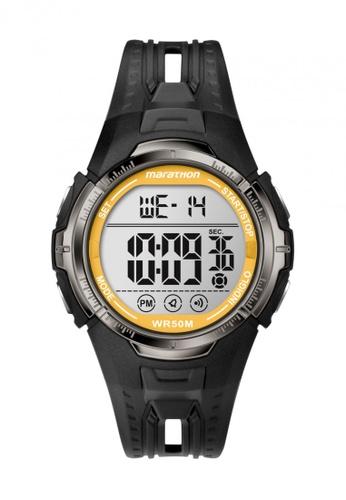 TIMEX black Timex Marathon® - Quartz Digital Full-Size - Black/ Yellow Resin Strap TI857AC62VZLSG_1