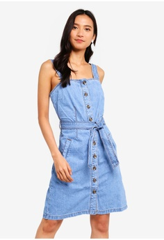191499eda4f Dorothy Perkins blue Belted Pinafore Dress 842FFAA8683D5AGS 1