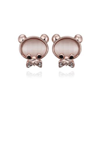 Glamorousky silver Fashion Cute Plated Rose Gold Little Beer Chrysoberyl Cat Eye Opal Stud Earrings 8E144AC049747FGS_1