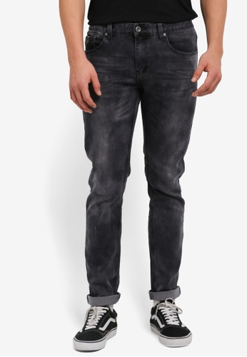 UniqTee 黑色 Washed Slim Cut Jeans UN097AA0SHCWMY_1