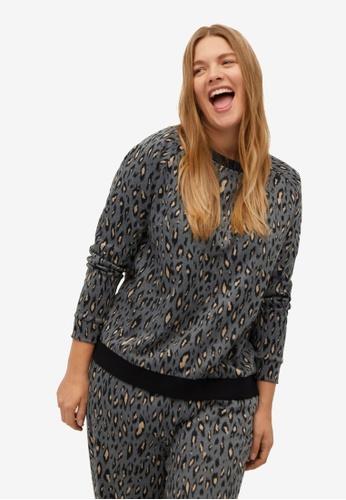 Violeta by MANGO grey Plus Size Animal Print Sweatshirt 1853AAA253A9FEGS_1