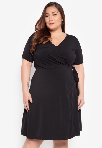 93cff8543ad D Fashion Engineer black Myrna Overlap Plus Size Dress 76028AA775CACBGS 1