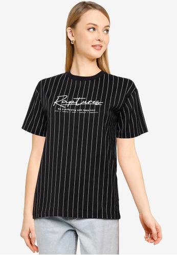 LOWRYS FARM white Graphic Stripe T-Shirt CFF19AA25396FDGS_1