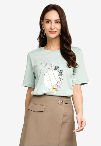 Hopeshow green Kite Graphic Round Neck T-Shirt 5B3DCAAFE1BF55GS_1