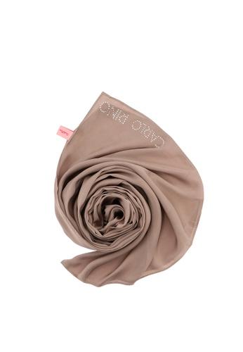 Carlo Rino brown Khaki Beautiful Dawn Long Satin Chiffon Scarf 598B9ACB615787GS_1