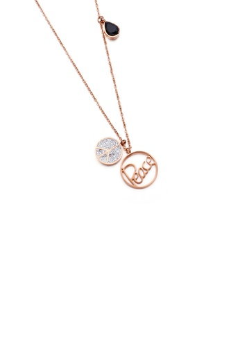 Glamorousky black Fashion and Simple Plated Rose Gold Peace Double Round 316L Stainless Steel Pendant with Cubic Zirconia and Necklace F9A87AC91619D2GS_1