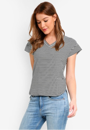 a5d289cf857a54 ZALORA BASICS black and white Basic V Neck Top 2435DAAD760D4DGS 1