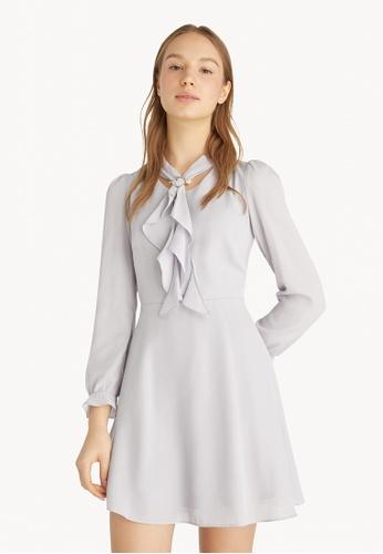 Pomelo grey Ruffled Neckline Mini Dress - Light Grey BCCFFAA89AF88CGS_1