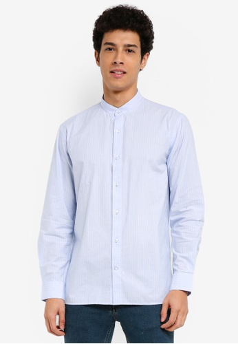 MANGO Man blue Regular-Fit Mao Collar Shirt AB739AA34785CDGS_1