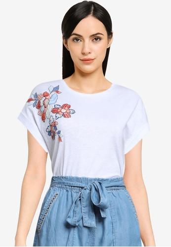 Springfield 白色 有機棉珠飾花卉T恤 0835DAA859ABFBGS_1