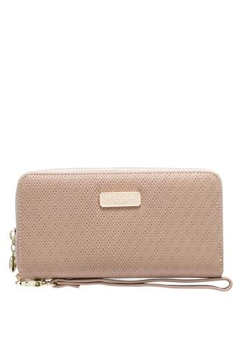 Unisa beige Debossed Ladies Zip-Around Wallet E03C4ACCCB6092GS_1