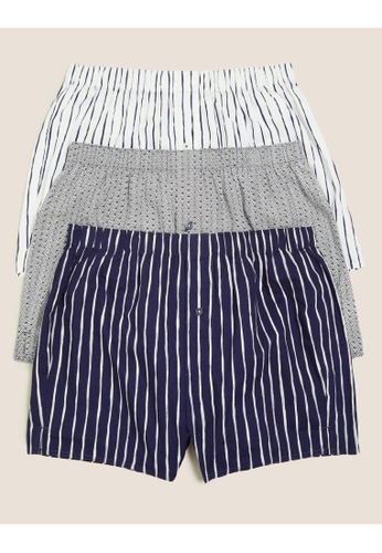 MARKS & SPENCER blue M&S 3 Pack Pure Cotton Striped Woven Boxers 8B87AUS7853110GS_1