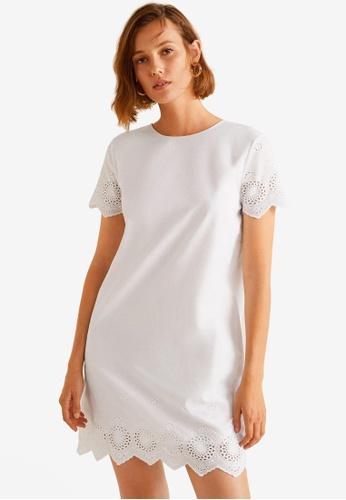 Mango white Blond-Lace Panel Dress 44666AAA291DA5GS_1