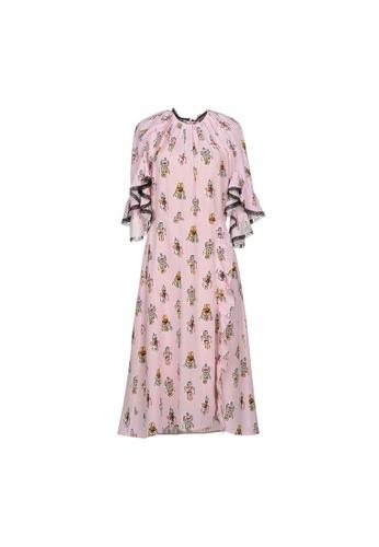 PRADA pink Prada Robot Print Ruffle Trim Dress in Pink 1F84DAAAC4AB26GS_1