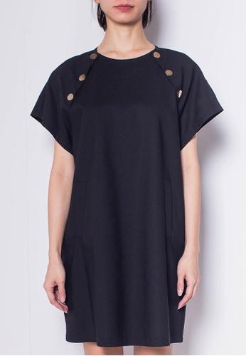 SUB black Women Raglan Sleeve Keyhole Back Dress 7F96FAA821AF34GS_1