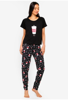 a96517bbdb South Beach black Monday Coffee Print Short Sleeve Top With Legging Pajamas  EDB52AA0A34649GS 1